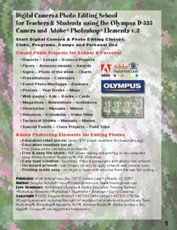 Digital Camera & Photo Editing School for Teachers & Students using the Olympus D-535 Camera and Adobe Photoshop Elements v.3