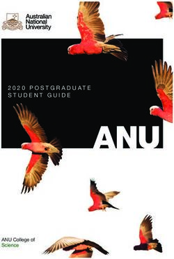 ANU College of Science - 2020 POSTGRADUATE STUDENT GUIDE