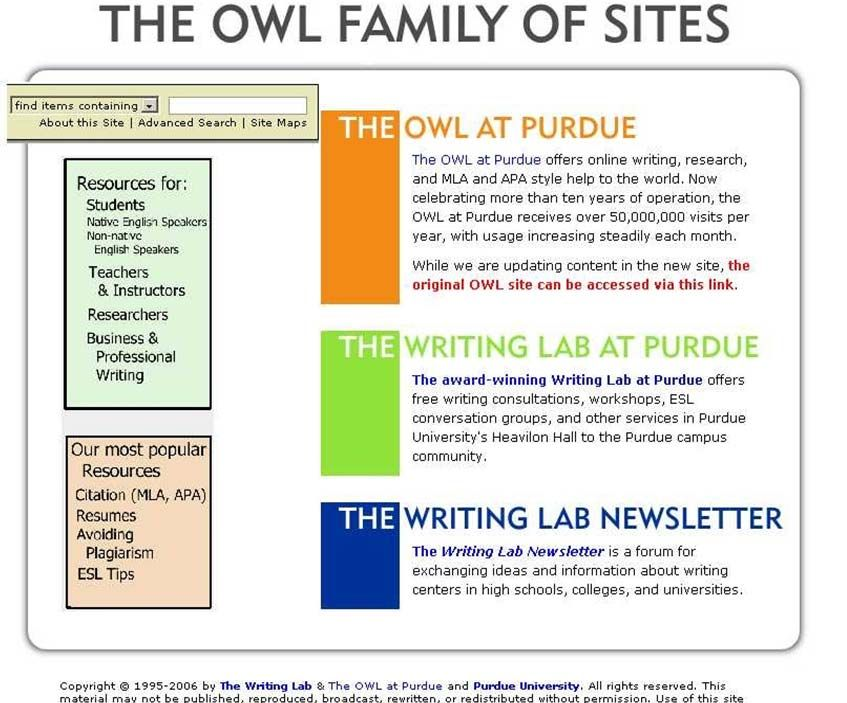 purdue online writing lab owl usability report