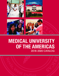 MEDICAL UNIVERSITY OF THE AMERICAS 2018-2020 CATALOG