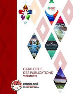 CATALOGUE DES PUBLICATIONS - VERSION 2018