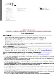 INSCRIPTION 2014-2015 DIPLOMES UNIVERSITAIRES DU ET INTER UNIVERSITAIRES DIU DE MEDECINE