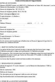 Contrat de location de l'appartement