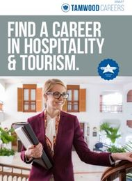 Find a Career in Hospitality & Tourism - Tamwood Careers 2016/2017